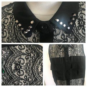 MATERIAL GIRLS nwt black lace sleeveless tank